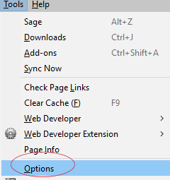 Click on Options
