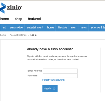Log in to Zinio website