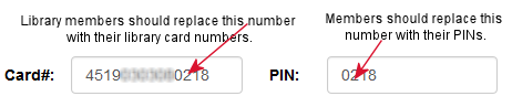 Replace generated number with your library card number